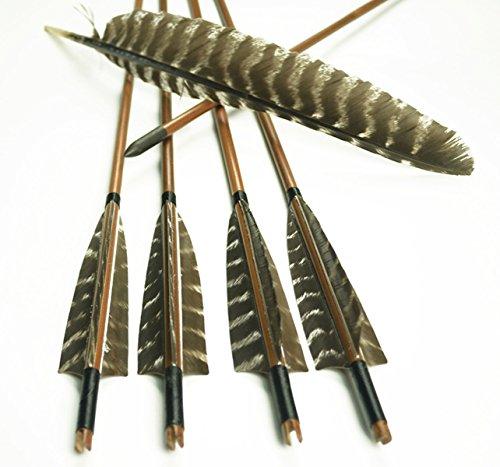 Lava Heart Recurvado Tradicional De Tiro con Arco Flecha Flechas De Bambú Dedicado Flores De Plumas Pluma Real Peso De Bambú 12pcs
