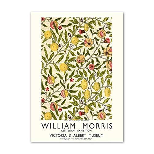 ウィリアムモリス絵画インテリア抽象自然植物花ポスターヴィンテージガーデンウォールアートパネルプリントリビングルームウィリアムモリス絵の装飾50x70cmx1フレームなし