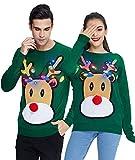 Idgreatim Unisex Ugly Christmas Sweater Lustiger Weihnachtspullover Print Langarm Hässliche Weihnachts Led Licht Pullover Shirts Rot XXL