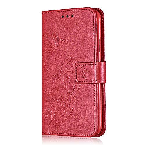Bear Village® Brieftasche Hülle für Huawei P9 Plus, Premium Leder Flip Schutzhüllem Huawei P9 Plus Multifunktion Klappständer Schützthülle mit kartenfächern (#6 Rot)