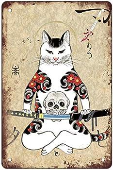 Cat Poster Decor Vintage Poster Japanese Ninja Samurai Cat Tattoo Metal Tin Sign Retro Home Cafe Office Art Bar Pub Garage Classic Wall Decor Plaque 8x12 Inch