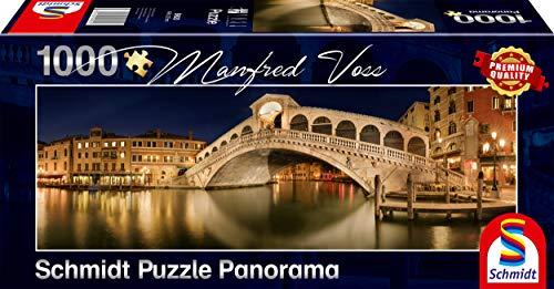 Schmidt Spiele Puzzle 59620 Manfred Voss, Rialto-Brücke, 1000 Teile Panorama-Puzzle, bunt