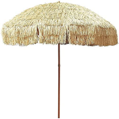 WSDSX Sombrilla Jardin,Sombrilla de Playa de 6 pies Paja de Rafia a Prueba de Agua, Parasol inclinable a 45 ° Sunbrella, Portátil para jardín Sombrilla al Aire Libre Decoración Sombrillas de Patio