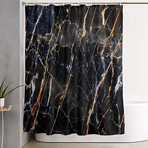 QYUESHANG Duschvorhang,Abstrakte Schwarze & dunkelbraune Marmorbeschaffenheit in natürlichem,Bad Vorhang waschbar Bad Vorhang Polyester Stoff mit 12 Kunststoffhaken 180x180cm