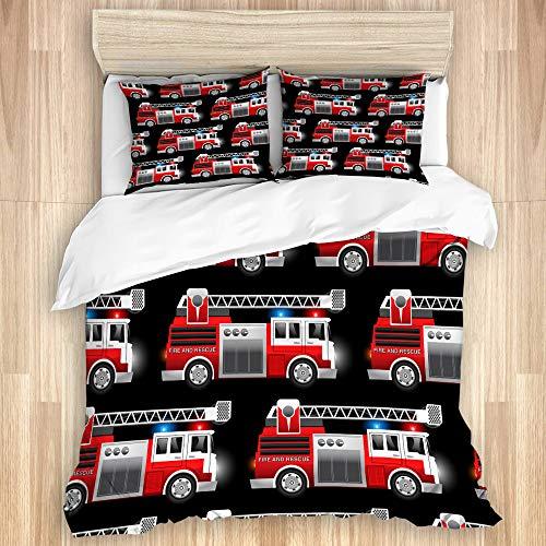 Yhouqukhdeueh Bettwäsche Bettbezug 3pcs,3D Roter Feuerwehr- und Rettungswagen,weiches Mikrofaser-Bettbezug-Set mit Reißverschluss,Housse de couette 240x260cm,Super King