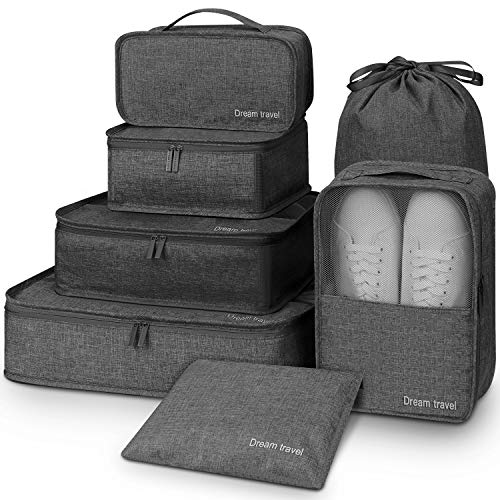 Packing Cubes for Travel,Mossio 7 Piece Various Size Clothes Weekender Storage Bags Black