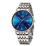 LIGE Relojes Hombre Casual Inoxidable Analógico Relojes Lmpermeable Clásico De para Negocios Hombre Relojes Elegante Moderno Minimalista Relojes Azul Plata