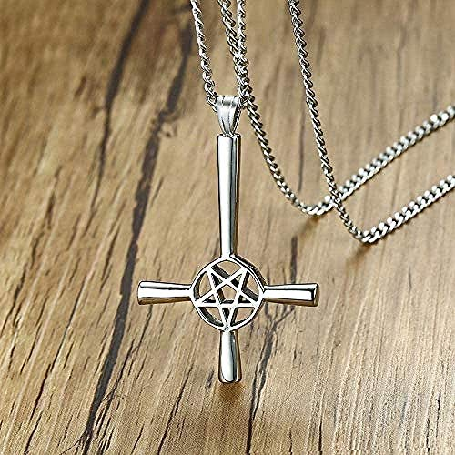 UAGXFC Collar Hombres Cruz Colgante Invertido Pentagrama Invertido Estrella Peltre Joyería Satánica