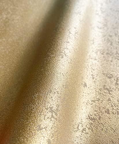 NEWROOM Tapete gold Uni Glanz Bauhaus Vliestapete Vlies moderne Design Optik Tapete Struktur Premium Industrial inkl. Tapezier Ratgeber