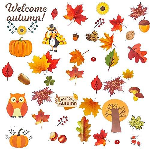 Herbst Fensterbilder, Herbst Blätter Fensteraufkleber, 6 blätter Erntedankfest fensteraufkleber Herbst Blätter Thanksgiving Fenster Aufkleber Saisonale Urlaub Fenster Aufkleber