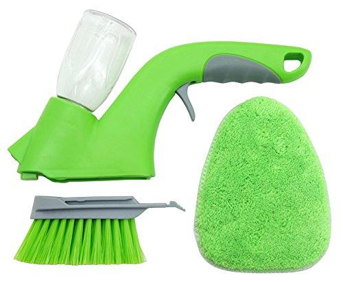 UPP® Sprüh-Handbürste mit 2 Aufsätzen inkl. Ersatzpad/Sprühwischer/Fensterrahmen Reiniger/Flächenreiniger/Bürste mit Sprüher/Schrubber/Handreiniger/Handsprüher/Handschrubber