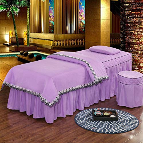 MRZHW 4-piece Solid color Beauty Bed cover Skin-Friendly Soft Salon Bedspreads Massage Bed cover Cotton Quilting Durable-60x180cm(24x71inch) D1
