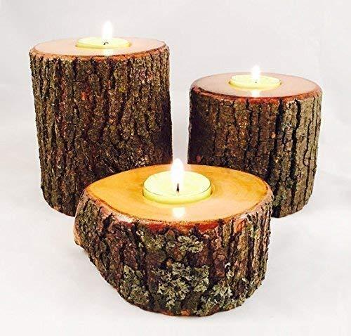 Amazon Com Natural Wood Candle Tea Light Holder Individual Or Set Handmade
