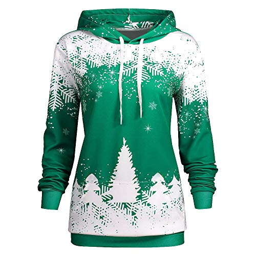 LODDD Women Christmas Hooded Tops Snowflake Print Long Sleeve Sweatshirt Blouse Green