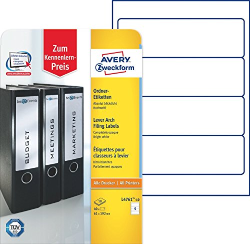Avery Zweckform L4761-10 Ordner-Etiketten (A4, Rückenschilder, 2x 40 Stück, 192 x 61 mm) 2x 10 Blatt weiß (2)