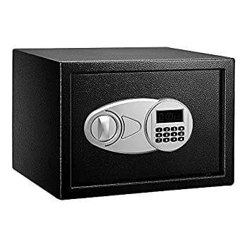 Amazon Basics Steel Security Safe with Programmable Electronic Keypad - Secure Cash Jewelry ID Documents - Black 0.5 Cubic Feet 13.8 x 9.8 x 9.8 Inches