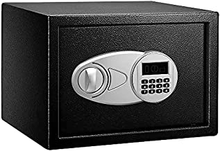 Amazon Basics Steel Security Safe with Programmable Electronic Keypad - Secure Cash, Jewelry, ID Documents - Black, 0.5 Cubic Feet, 13.8 x 9.8 x 9.8 Inches