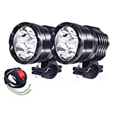 Motorcycle Led Driving Lights, 2Pcs 40W High/Low/Strobe Spotlights Auxiliary Lights 12V 24V Front Fog Lamp Universal For E-Bike Truck Jeep Car Boat With Switch