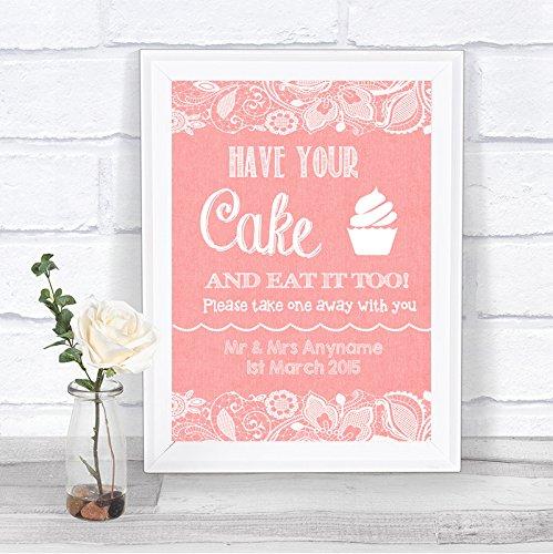 Coral jute & kant effect taart Cupcake Candy Buffet gepersonaliseerde bruiloft teken Framed Oak Small