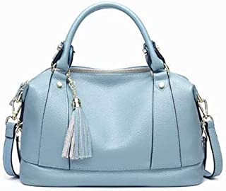 XFCH-AQ Messenger bag Leather shoulder bag tassel top layer cowhide handbag lady bag Unique Bag (Color : Light Blue)