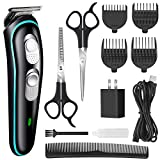 Hair Clipper for Men Professional Cordless Clippers Rechargeable Electric Hair Trimmer Beard Trimmer Kit for Kid and Adults Suitable for Home Daily Use Comes with Scissors 4 Guide Comb