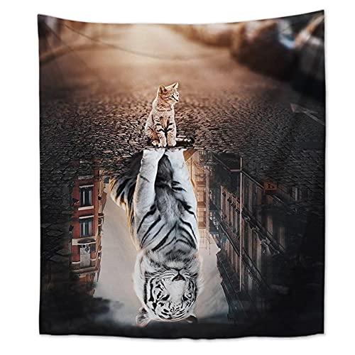 GANGNON - Estilo europeo simple animación tema animal tapiz yoga paño de pared dormitorio salón decoración del paño de la pared gato 130 x 150 cm