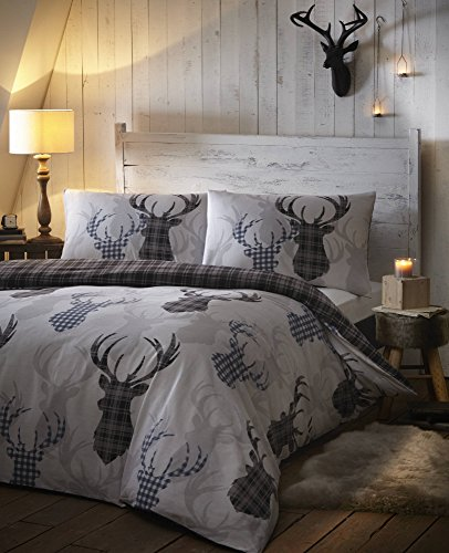 Tartan Check Stag Rein Deer Duvet Quilt Cover Double Bedding Bed Set Grey Black