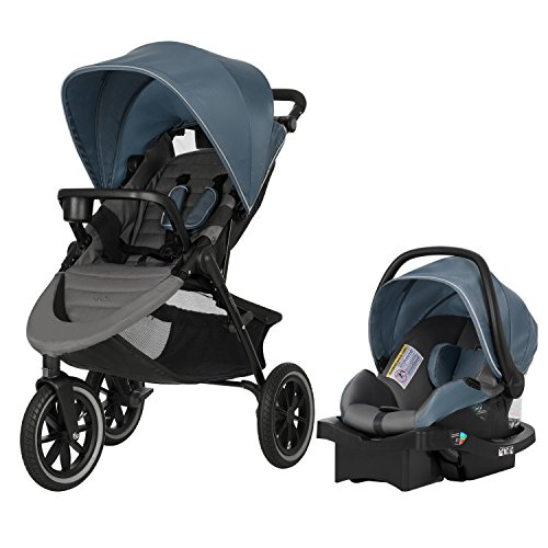 "Evenflo Folio3 Stroll & Jog Travel System w/LiteMax 35 Infant Car Seat, Crossover Versatility, Ultra-Compact, Self-Standing Folding Design, 12"" Air-Filled Tires, Front Wheel Swivel Lock, Skyline Blue"