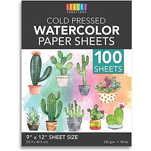 Cold Press Watercolor Paper for Artists and Beginners (9 x 12 in, 100 Sheets)