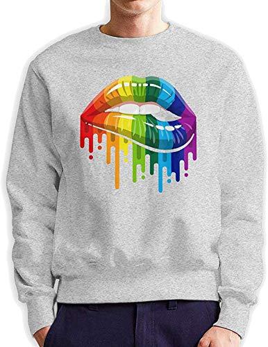 Preisvergleich Produktbild Ouzhou21 Männer Regenbogen-Lippen Lesbian Pride Modische beiläufige Art mit Rundhalsausschnitt Baumwolle SweatshirtHoodie,  Grau,  Groß
