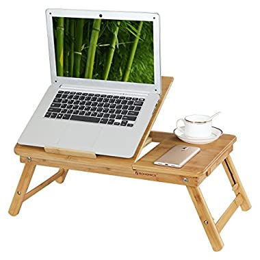 SONGMICS ULLD001 Bamboo Laptop Desk Serving Bed Tray Breakfast Table Tilting Top