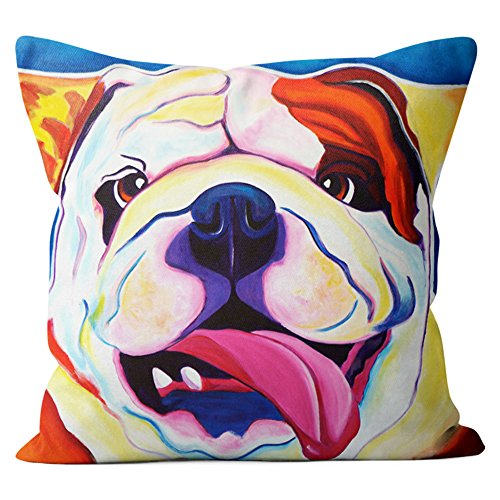English Bulldog Pillow Throw Pillow Couch Cushion Decorative Accent Pillowcase Case Cover Dog Lover Gift Pet Gifts Dogs Colorful Art (18 Inch X 18 Inch Pillow Cover)