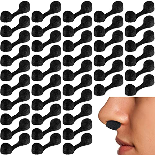 100 Pieces Nose Plug Filter Disposable Nose Dust Filters Nostril Filters Spray Nose Filter Sponge Black Nose Plugs for Women Men Sunless Spray Tanning Outdoor Dust Construction Areas