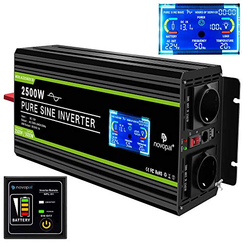 NOVOPAL Convertisseur Pur Sinus 2500W- transformateur 12V 220V 230V avec télécommande et Dual AC Prises et écran LCD,pour Voiture, Caravane, Bateau, Camping, Voyage