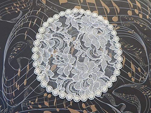 Handmade cream lace doily head cover with delicate circular trim accent Veil Kippah Yarmulke (with decorative bobby pin) (Style 472) Exclusively by Elegant Doily