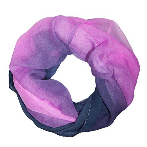 MANUMAR Loop-Schal für Damen   Hals-Tuch in lila schwarz mit Farbverlauf Motiv als perfektes Herbst Winter Accessoire   Schlauchschal   Damen-Schal   Rundschal   Geschenkidee für Frauen und Mädchen