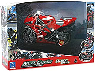 New Ray 01993 – Battery Operated Motorcycle Light y Sound, Escala 1: 12, Color Rojo