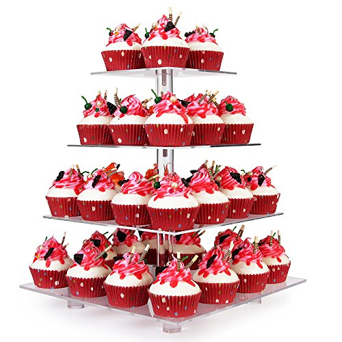 YestBuy 4 Tier Cupcake Stand With Base, Acrylic Cupcake Tower Stand, Premium Cupcake Holder, Clear Cupcake Display Tree Tower Stand For 52 cupcakes, Display for Wedding Birthday Pastry (4 Tier Square)