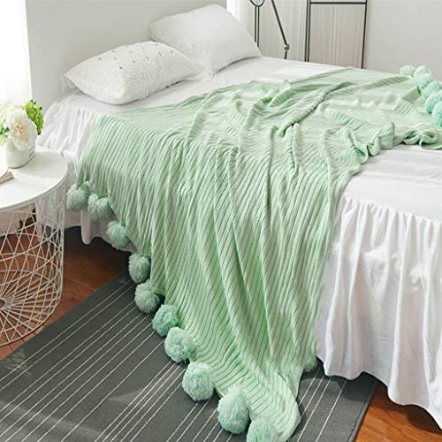 SKRHFLH Mantas de Pelo de Punto de algodón Mantas de Lana para Cama para Cama 5 Colores Tiro Suave Aire Acondicionado Manta Manta de Dormir Ropa de Cama (Color : C, Size : 100x105cm)