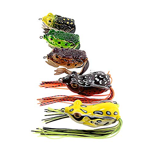HNYY 5pcs Frog Lure Ray Frog Topwater Fishing Crankbait Lures Artificial Soft Tube Bait Soft Fishing Lures Set