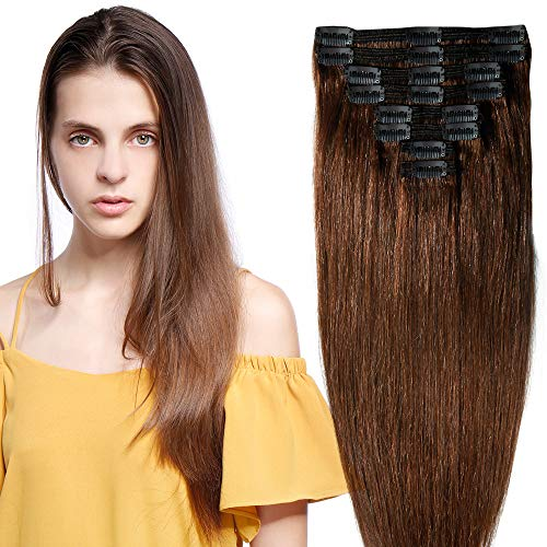25-55cm 110g-160g Double Weft Extension Capelli Veri Clip Full Head - 100% Remy Human Hair Capelli Umani (35cm-120g, 04# Marrone Cioccolato)