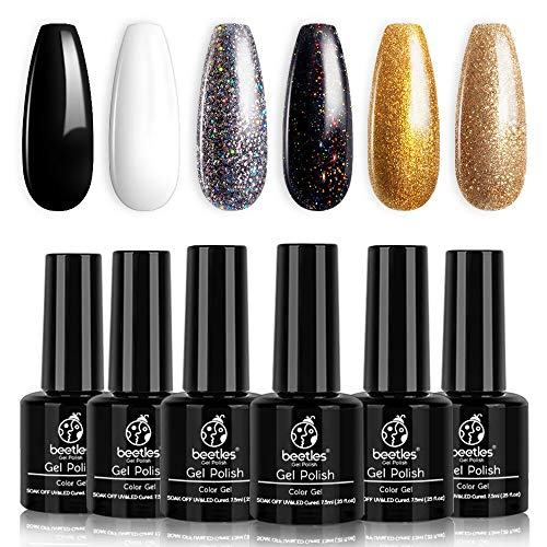 Beetles Black Gold Glitter Gel Nail Polish Set - 6 Colors White Silver Rose Glitter Gel Polish Kit Soak Off Nail Gel Kit, 7.3 ml Each Bottle Gel Nail Art New Year Gifts Box