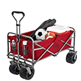 Smart Design Collegiate Heavy-Duty Utility Collapsible Sports Wagon – Heavy Duty Wheels Beach Cart - 20.15 x 35.5 x 22.5 inch - Black & Crimson Colors - [Utah Utes]