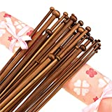 36PCS 35.5CM Bamboo Knitting Needles Set 18 Sizes Bamboo Single Pointed Knitting Needles for Sweater Knit (2.0mm-10mm)