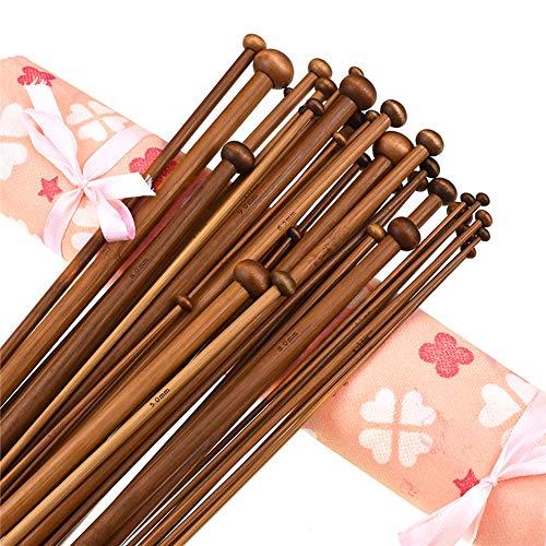 36PCS 35.5CM Bamboo Knitting Needles Set 18 Sizes Bamboo Single Pointed...
