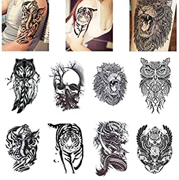 COKOHAPPY 8 Sheets Large Temporary Tattoo Half Arm Extra Sleeve Elephant Dead Skull Lion Owl Dragon Tiger Wolf for Guys Man Shoulder Chest Back