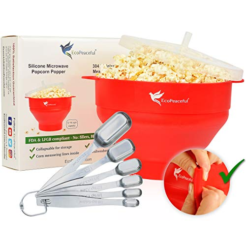 EcoPeaceful Microwave Popcorn Maker - Silicone Collapsible Bowl Popcorn Popper. PLUS 6 Stainless Steel Measuring Spoons Fit Spice Jars SILICONE - PLASTIC-FREE, BPA-FREE, PHTHALATE-FREE, VEGAN