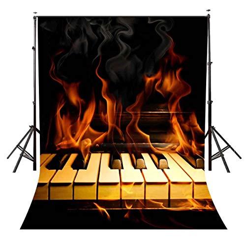 AdaCrazy 5x7ft Brennender Klavierhintergrund Brennender Klavier Leidenschaft Musik Fotografie Hintergrund und Studio Fotografie Kulisse Requisiten LYNAN295