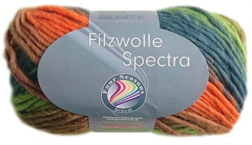 100 Gramm Gründl Filzwolle Spectra aus 100 % Schurwolle, (Farbe 02 Orange Grün Mix)