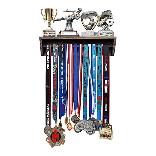 Paisa Home - Medal Hanger & Trophy Shelf- Use as a Medal Display with Shelf, Trophy Rack, Medal Holder and Medal Display Hanger, Race Medal Display and Medal Hanger with Shelf… (Pine Brown)